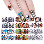 BONNIESTORE 12 Patterns Transfer Nail Stickers Water Decal Halloween Skull Flower Unique Design Manicure Nail Art DIY Decoration