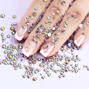 CoulorButtons 720Pcs Multi-size Flat Bottom AB Colour Crystal Nail Rhinestone DIY Manicure 3D Nail Art Decoration