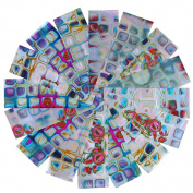 BONNIESTORE 16 Pcs Transfer Nail Stickers Irregular Gradient Maze Nail Foil Square Starry Sky DIY Manicure Nail Art DIY Decoration