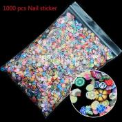 WISHNAIL 1000pcs 3D Fruit Animals Fimo Slice Clay DIY Nail Art Tips Sticker Decoration