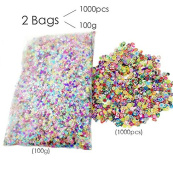 TKOnline 110ml/100g Mixed Shapes Multicolor Manicure Glitter Confetti and 1000pcs/bag Nail Art 3D Mixed Abouts 10 Kinds Tiny Fimo Slices Polymer Clay DIY Nail Sticke Nail Art Decoration