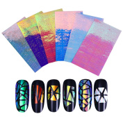 BONNIESTORE 6 Sheets Transfer Nail Stickers Holographic AB Colour 3D Hollow Colourful Adhesive Nail Art Foils for Women DIY Decoration