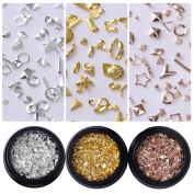 BONNIESTORE Nail Sequins Rose Gold Rivet Nail Studs Star Shell Round Square Triangle Manicure Nail Flakies Glitter Paillette Nail Art 3D Decoration