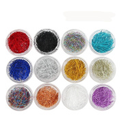 Vinjeely Superfine Silk Nail Wire Line 3D Nail Decoration 12 Colours for Nail Art Decoration