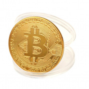 Sympath 1 x Gold Plated Bitcoin Coin Collectible Gift BTC Coin Art Collection Physical