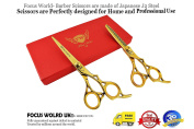 FW® - Professional Hairdressing Barber Hair Cutting Thinning TITANIUM GOLD Scissors Set 18cm - Free Gift Box - Finger Rests - Fine Adjustment Tension Screw