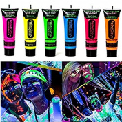 GARYOB Glow in Dark Body Paint Body & Face Glow Backlight Neon Fluorescent 10ml Set of 6 Tubes