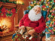 5D DIY Diamond Painting kit Rhinestone Embroidery Cross Stitch Full Drill Arts Craft for Christmas Home Wall Decor, Sleeping Santa Claus