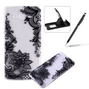 TPU Case for Samsung Galaxy Core Prime G360,Clear Case for Samsung Galaxy Core Prime G360,Herzzer Ultra Slim Stylish [Black Lace Pattern] Soft Silicone Gel Bumper Cover Flexible Crystal Transparent Skin Protective Case for Samsung Galaxy Core Prime G36 ..