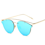 KaiCran Fashion Sunglasses Women Cat Sunglasses Metal Frame Sunglasses Brand Classic Tone Mirror