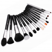 Jessup Pro Makeup Brushes 15 Pcs Makeup Brush Set Beaury Cosmetics Make Up Powder Foundation Eyeshadow Eyeliner Blending Lip Brush Tools (Black /Silver) T092