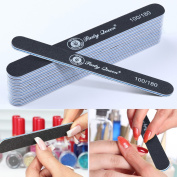 Party Queen Nail Files Buffers 20Pcs Pack Black Washable Double Sided 100 180 Grit for Nail Art Salon Tool