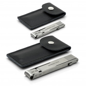 Otto Herder Set of 2 Folding Travel Fingernail and Toenail Nail Clippers in black leather pouch   Extra sharp - INOX Stainless steel - made in Germany - plus a free Crystal Nail File