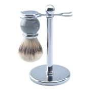 CSB Men's Shaving Set, Silvertip Badger Hair Shaving Brush, Chrome Shaving Stand