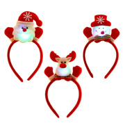 3PCS Unisex Cute Christmas Santa Claus Headband Hair Bands with LED Light Christmas Decoration for Men Women Kids