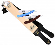 Professional Quality Sharpening Strop Made of Cowhide Real Leather 7.6cm Wide and 60cm Long With 2 Professional Quality Old Fashion Straight Razors-543