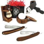 Men's Wood Straight Razor Shaving Set Vintage Wooden Solingen Shave Ready Straight Razors, Mission Style Wooden Stand for Razors Pure Badger Shaving Brush Mug Soap