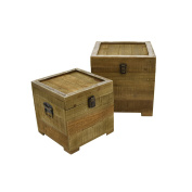 Three Hands Wood Chests Home Décor Accent, Brown