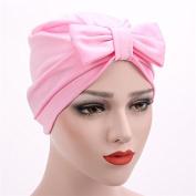 Fashion Women Girl Bowknot Satin Beanie Hat Head Wrap Turban Cap Cancer Chemo Hat Muslim Ruffle Beanie Headdress Cover Scarf Hat