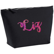 Liz Personalised Name Cotton Canvas Black Make Up with a Holographic Pink Print Accessory Bag Wash Bag Size 14x20cm. The perfect personalised Gift for All occasion, Christmas, Birthdays,