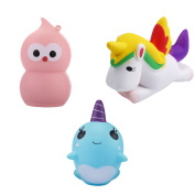 Bundle of Mini Kawaii Squishy Toys, Unicorn, Pink Bird and Blue Whale Plush Squishies, Slow Rising Squishy Relief Toys, Squishy Phone Charms