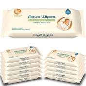 Aqua Wipes Baby Wipes, (Carton of 12 packs (768 Wipes)), (64 Wipes per Pack), AQW64F, Biodegradable, _99% Purified Water, NHS APPROVED