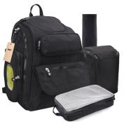 Changing Backpack Baby Bag Nappy Nappy Lightweight Waterproof Large Travel Rucksack Changing Pad Premium Oxford Stroller Straps Men Ladies Black