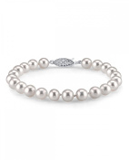 14K Gold 8-9mm White Freshwater Cultured Pearl Bracelet - AAAA Quality