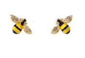 Enamel and Crystal Super Cute Bumble Bee Stud Earrings