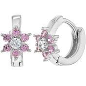 925 Sterling Silver Pink CZ Tiny Baby Girls Flower Hoop Huggie Earrings 0.7cm