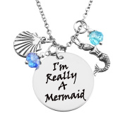 "MJARTORIA Rhinestone ""I'm Really A Mermaid"" Engraved Pendant Silver Colour Women Necklace"