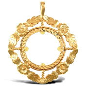 Jewelco London Solid 9ct Yellow Gold Flower Leaf Frame Full Sovereign Coin Mount Pendant