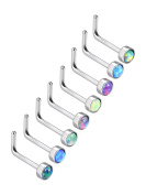 Mudder 8 Pieces 20G L Shaped Nose Rings L-bend Nose Studs Opal Stone Inlaid Stainless Steel Curved Piercing Jewellery, 8 Colours