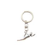 Fashion Car Keychain Silver Colour Metal Key Chains Accessory, Vintage swimming sporter Key Rings