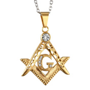 Mens Stainless Steel Freemason Masonic Symbol Pendant Necklace with Sginy Rhinestone Inlaid,Gold,,60cm Chain Included
