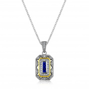 Newshe Women's Created Blue Sapphire White Cz 925 Sterling Silver Gemstone Pendant Chain Necklace 46cm