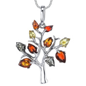Ultimate Metals Co. ® Sterling Silver Multi-Colour Baltic Amber Tree of Life Pendant Necklace 46cm Free Rolo Chain