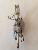 """A70 Stag 2 kilt pin Scarf or Brooch pin pewter emblem 3"""" 7.5 cm handmade in sheffield"""