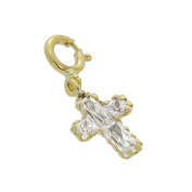 9ct Gold & Clear CZ Cross Clip on Charm