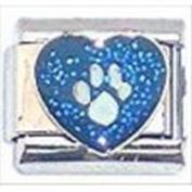 Paw print glitter heart italian charm fits classic nomination & zoppini charm bracelets
