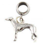 Sterling Silver Greyhound Dog Dangle Bead /Charm To Fit European Style Charm Bracelets