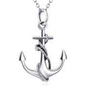 Silver Mountain 925 Sterling Silver Rope Nautical Anchor Pendant Necklace with 46cm Chain
