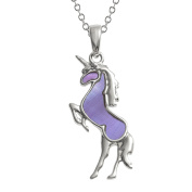 Kiara Jewellery Unicorn Pendant Necklace Inlaid With Purple Mother of Pearl on 46cm Trace Chain. Non Tarnish Silver Colour Rhodium plated.