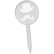 6 x 'Hat & Moustache' Clear Cupcake Picks / Cake Toppers