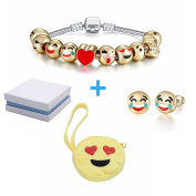 Emoticon Slide Charm Bracelet and Earrings Set and Love-Struck Coin Purse Inside White and Blue Box. Charms are 18K Gold Plated. Bracelet is 18cm Long and Silver Coated.