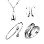 . Wedding Fashion 925 Silver Plated Jewellery Water Droplets Tears Set Rings Bracelet Necklace Earrings