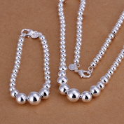 . Wedding Fashion 925 Silver Plated Jewellery The Size Of Lucky Beads Necklace Bracelet Two Pieces