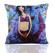 ME COO Creative Cartoon Mediterranean Mermaid Printed Blend Square Hugging Pillow Cover Bedding Set pillow case wedding kids gift 46cm × 46cm 1Pcs