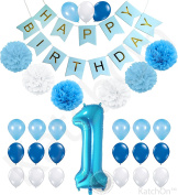 1st Birthday Boy Decorations Kit - Beautiful Boy Colours for Little Man First Birthday Decorations - Number One Balloon - Blue Happy Birthday Banner - Blue, Light Blue and White Pink Pom Poms Balloons