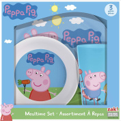 Peppa Pig Mealtime Set with Plate, Bowl and Tumbler, Break Resistant and BPA-free Plastic, 3 piece set by Zak! Designs